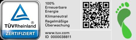 TÜV Rheinland zertifiziert und Ökologischer Fußabdruck