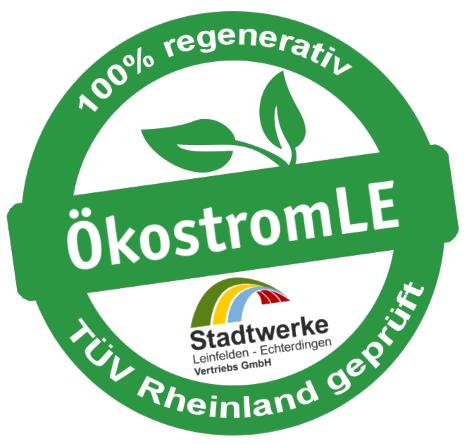 Siegel ÖkostromLE TÜV Rheinland geprüft
