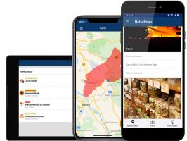 Ansicht Warn-App auf verschiedenen Geräten